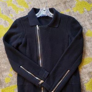 Navy blue Moto style sweater jacket size small